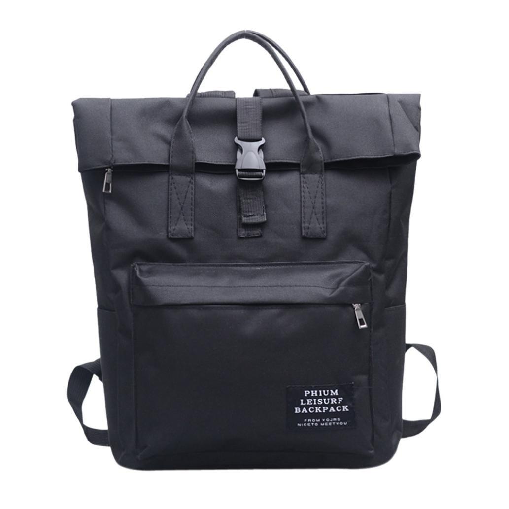 BCDshop Women Nylon Shoulder School Book Bag Tote Satchel Backpack Large Travel Rucksack (Black, Large)
