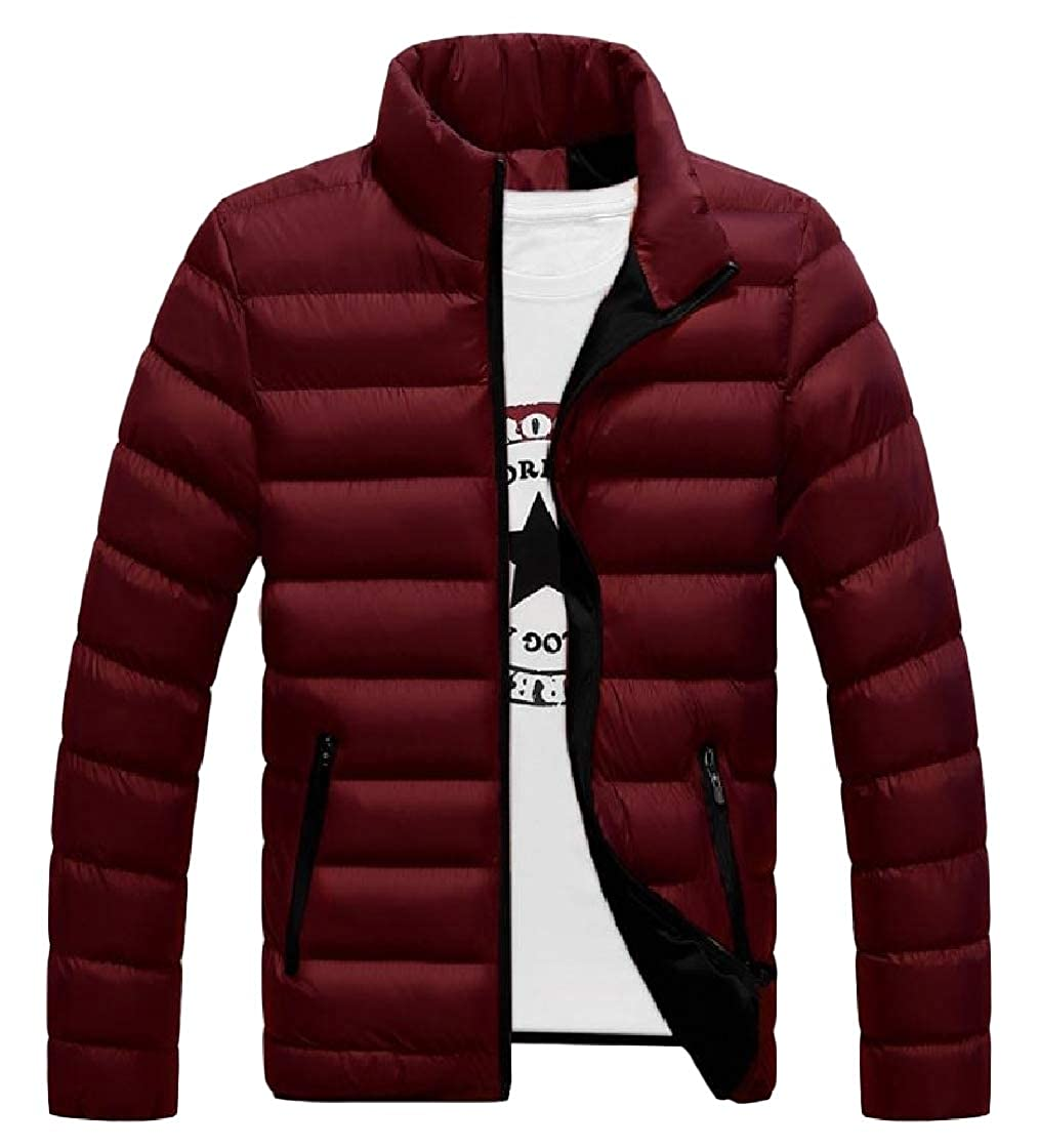 YUNY Mens Warm Stand Collar Plus-Size Pocket Zipper Long-Sleeve Thick Down Coat Pattern4 L