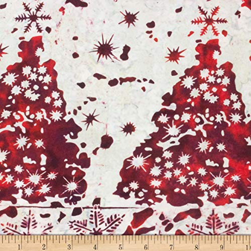 Northcott Winter Light Fireside Red/White Fabric by The Yard (Christmas Tree Batik)