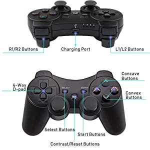 Kolopc 2 Packs Wireless Controller Gamepad Remote for PS3 Playstation 3 Double Shock - Bundled with USB Charge Cord(Black and Black1) (Color: Black and Black1)