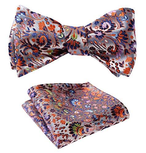 HISDERN Mens Paisley Floral Plaid Jacquard Self Bow Tie Pocket Square Set Wedding Party