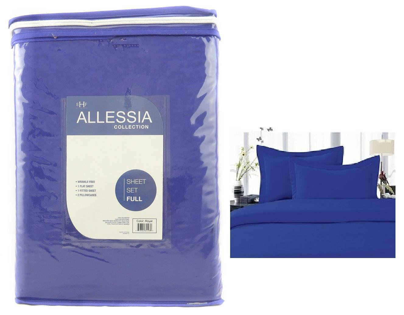 Allesia Collection Royal Blue Full Size Sheet Set Back To School College Dorm