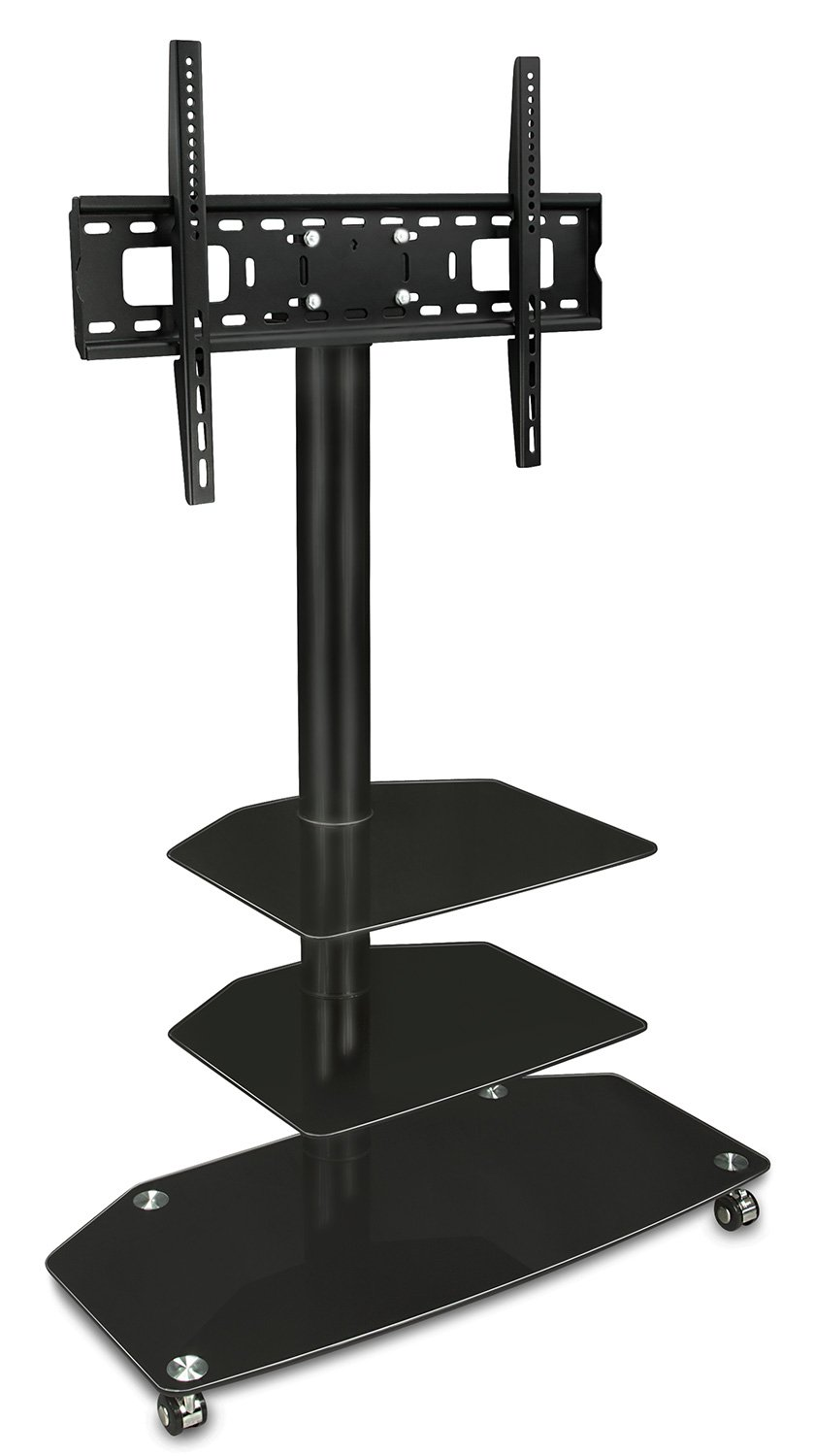 Mount-It Mobile TV Stand – with Rolling Casters Three-Tiered Glass Shelving – Fits 32 -60 Displays