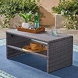 Luzia Outdoor Wicker Coffee Table, Gray Finish