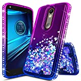 Droid Turbo 2 Case, NageBee Glitter Liquid Quicksand Waterfall Floating Flowing Sparkle Shiny Bling Diamond Girls Cute Case Designed for Motorola Droid Turbo 2 (Verizon XT1585) -Purple/Blue