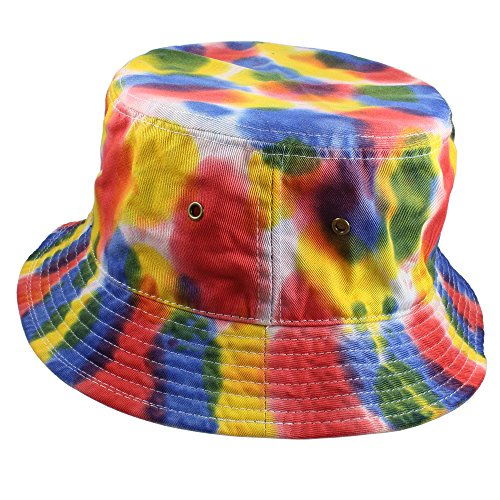 Gelante 100% Cotton Packable Fishing Hunting Sunmmer Travel Bucket Cap Hat (Small/Medium, Tie Dye Color: D)