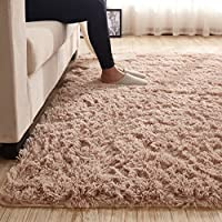 3.5 CM Height Solid Color Large Fluffy Shaggy Area Rug Anti-Skid Carpet, Ultra Soft Easy Care Rug for Bedroom/Living Room, 31.5 by 79 Inch