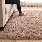 3.5 CM Height Solid Color Large Fluffy Shaggy Area Rug Anti-Skid Carpet, Ultra Soft Easy Care Rug for Bedroom/Living Room, 79 by 118 Inch