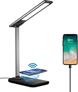 AOBISI LED Desk Lamp with Wireless Charger,3 Modes 6 Brightness Dimmable Office & Study Table Lamp with USB Charging Port,Touch Sensor Reading Lamp for Study,Work,Home,Office