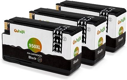 Gohepi 950XL Compatible para Cartuchos de tinta HP 950XL 950 Pack de 3 Negro Trabajar con HP Officejet Pro 8620 8610 8600 Plus 276dw 8100 8615 251dw 8625 8660 8640 8630: Amazon.es: Oficina y papelería