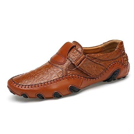 Bridfa Zapatos planos de los hombres de primavera y verano Zapatos de cuero de Split suave Zapatos mocasines de conducción masculina Casual: Amazon.es: Ropa ...
