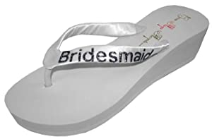 Wedding Flip Flops Bridesmaid Bridesmaid Bridal Flip Flops Bride Bling Glitter Wedge Wedding Platform Sandals Satin Flip Flops Shoes