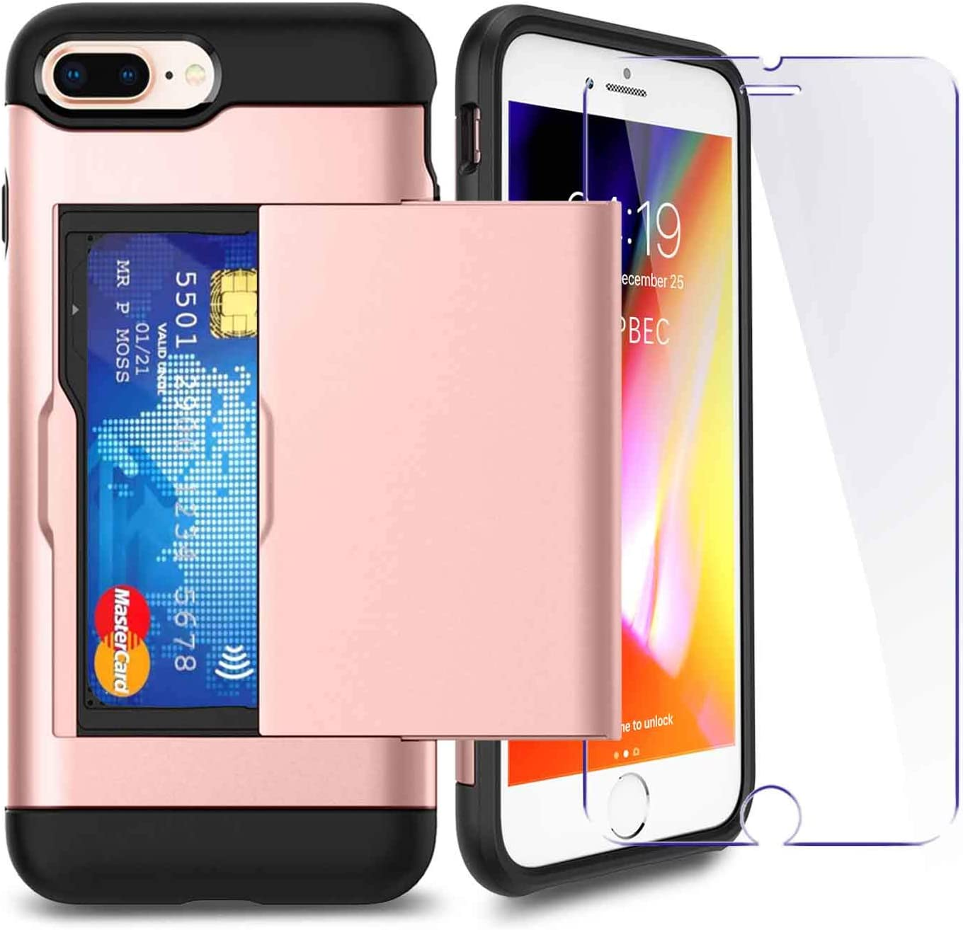 iPhone 7P/ 8P Plus Case with Card Holder and[ Screen Protector Tempered Glass x2Pack] SUPBEC i Phone 7 Plus / 8 Plus Wallet Case Cover with Shockproof Silicone TPU + Anti-Scratch Hard PC (Rose Gold)