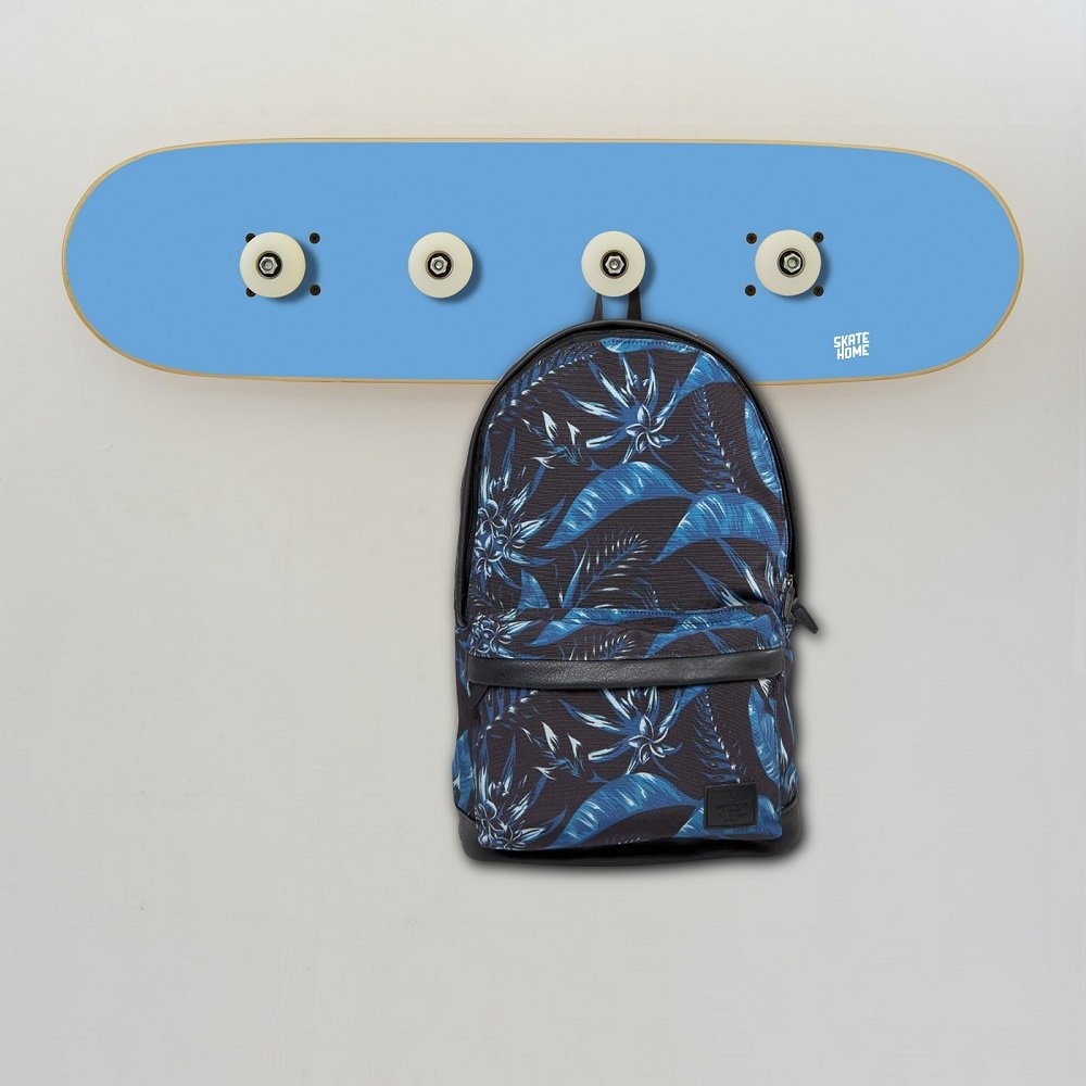 Kid´s coat rack perfect storage solution for children with skateboard deck and wheels for room decoration - Skate Coat Rack blue
