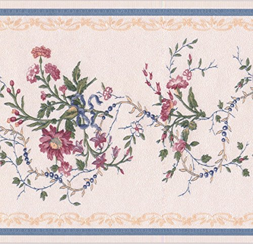 Pink Wallpaper Butterfly Border (Pink Flowers Blue Berries Floral Beige Wallpaper Border Retro Design, Roll 15' x 6'')