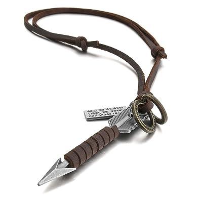 4c886537b238 MunkiMix Aleación Genuina Cuero Colgante Collar Marrón El Tono De Plata  Flecha Ajustable 16~26 Pulgada Cadena Hombre