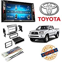 JVC KW-V140BT Double Din BT In-Dash DVD/CD/AM/FM Stereo + Toyota Tacoma Double Din Car Stereo Radio Installation Dash Mount Kit Harness