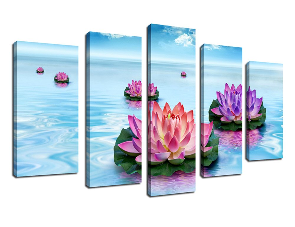 Canvas Painting Wall Art Spa Painting 5 Piece Zen Canvas Prints Red Lilies on Teal Lake Photo Modern Picture for Home Decoration 24'' x 50''