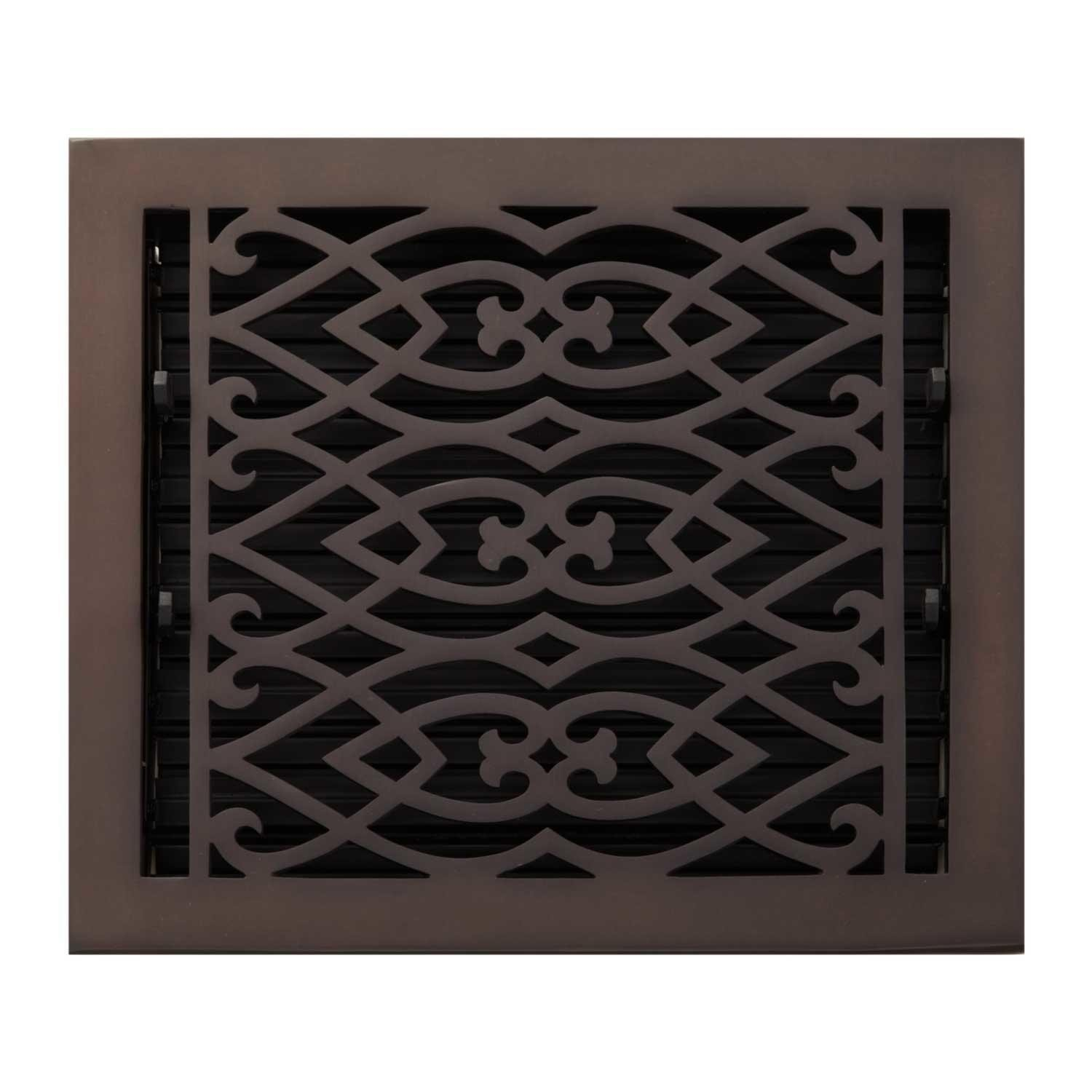 SH Naiture 8'' x 8'' Solid Brass Louvered Oversized Floor Register with Damper or Lever Victorian Style, Oil Rubbed Bronze Finish
