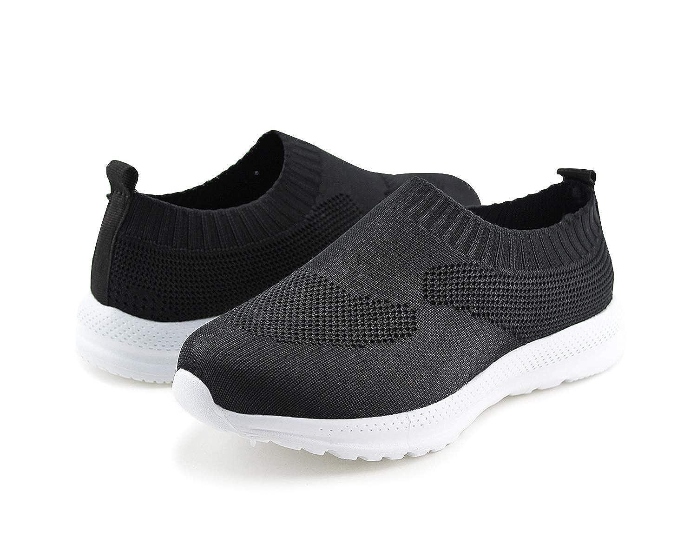 Jabasic Kids Lightweight Knit Shoes Boys Girls Slip On Walking Sneakers