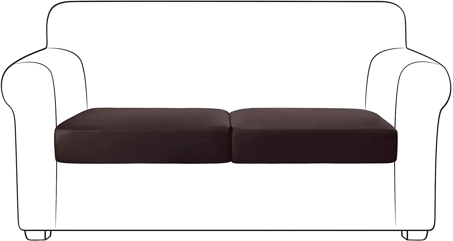 Yates Home PU Leather Couch Sofa Cushion Slipcover Water-Proof Elastic Chair RV Seat Covers Loveseat Sofa Furniture Protector Slip Cover for Settee Seater Replacement Living Room(2 Pieces, Chocolate)