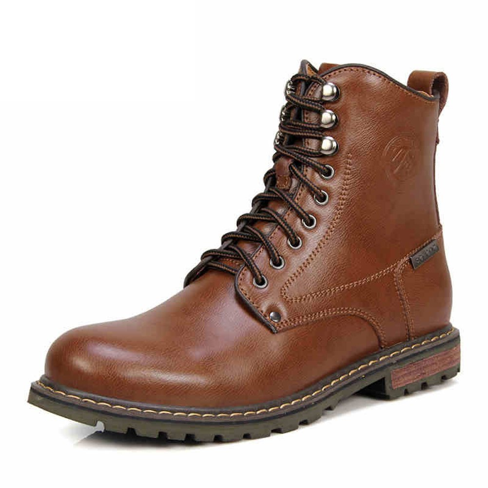 Ruiatoo Men's Leather Safety Work Boot Lace-up Combat Ankle Boot Brown 39