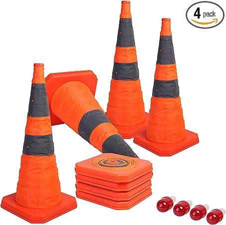 Naranja HUVE Conos De Tr/áfico Advertencia Plegable Conos De Tr/áfico Cono De Seguridad Reflectante Multiuso Pop Up Cono De Seguridad Reflectante para Deportes O Tr/áfico