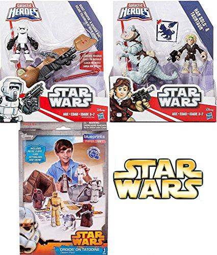Disney Playskool Star Wars Galactic Heroes Hans Solo & Tauntaun + Scout Trooper & Speeder Bike Figures Set + Bonus Star Wars (Dark Side Alice In Wonderland)