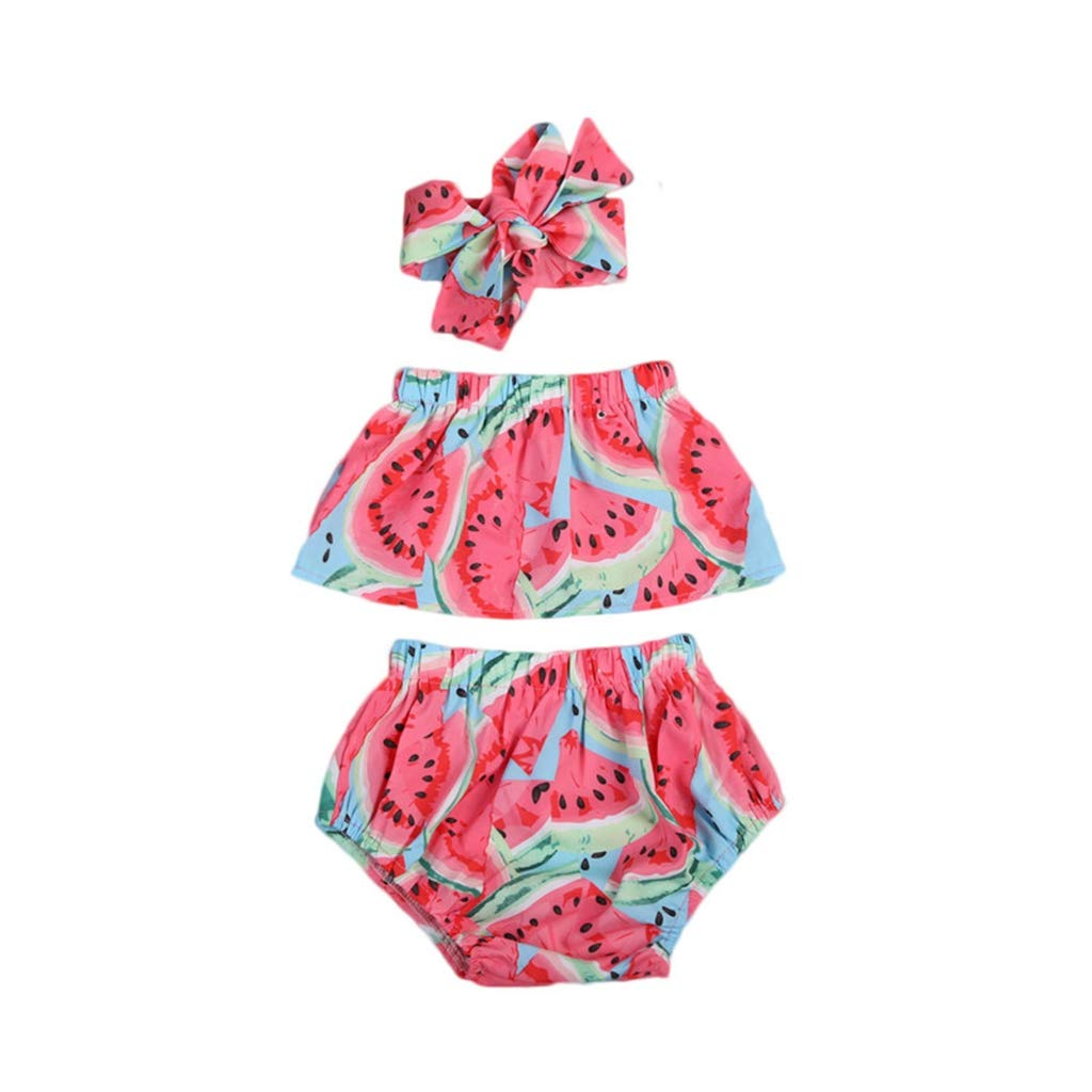 Cute 3Pcs Newborn Kids 0-24M Baby Girls Sweet Romper Off Shoulder Outfits Clothing Set Red