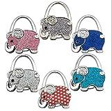 Reizteko Purse Hook, Cute Shining Elephant Foldable Handbag Purse Hanger Hook Holder for Tables (Pack of 6)