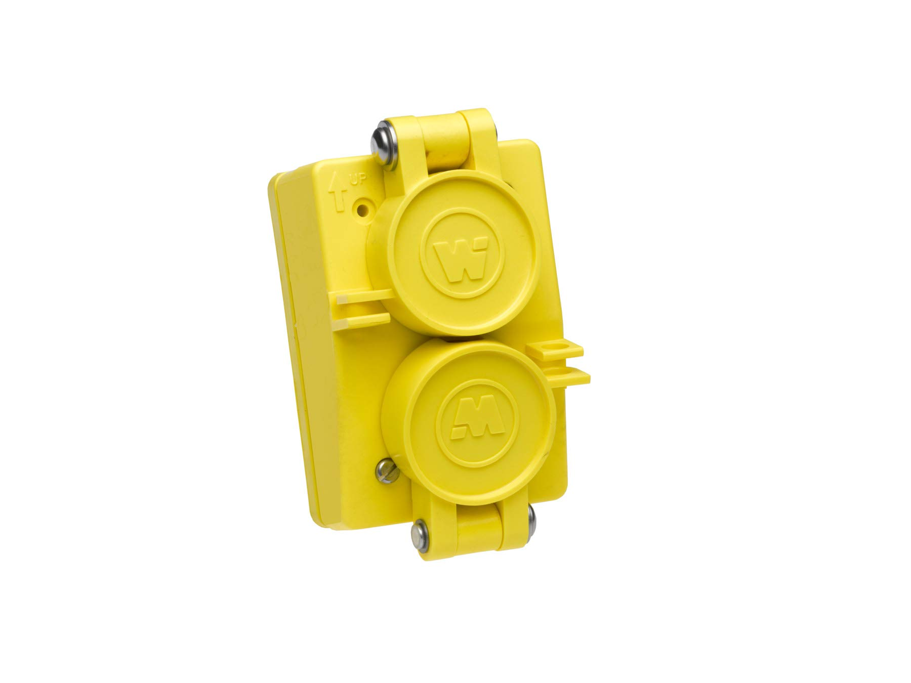 Woodhead 60W07DPLX Watertite Wet Location Straight Blade Receptacle, Duplex Flip Lid, Female, 3 Wires, 3 Poles, Yellow, 25A 125V / 10A 250V Rating