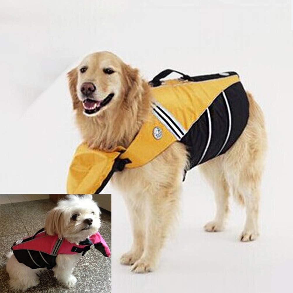 POPETPOP Adjustable Dog Life Vest Pet Life Jacket Reflective Durable Puppy Life Jacket Dog LIEF Preserver Dog Safety Vest for Swimming Boating M Yellow