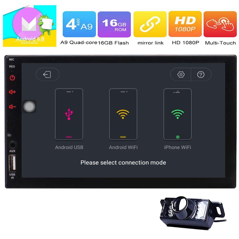 Double 2 Din in Dash Head Unit Universal Android 6.0 Car Stereo Radio GPS Navi 7 inch Touchscreen MP5 Player Support USB Input/Bluetooth/SWC/FM/AM/Mirror Link/WiFi+Free Backup Camera EGood CO. LTD. TT.AN7023GNN+FCAM1