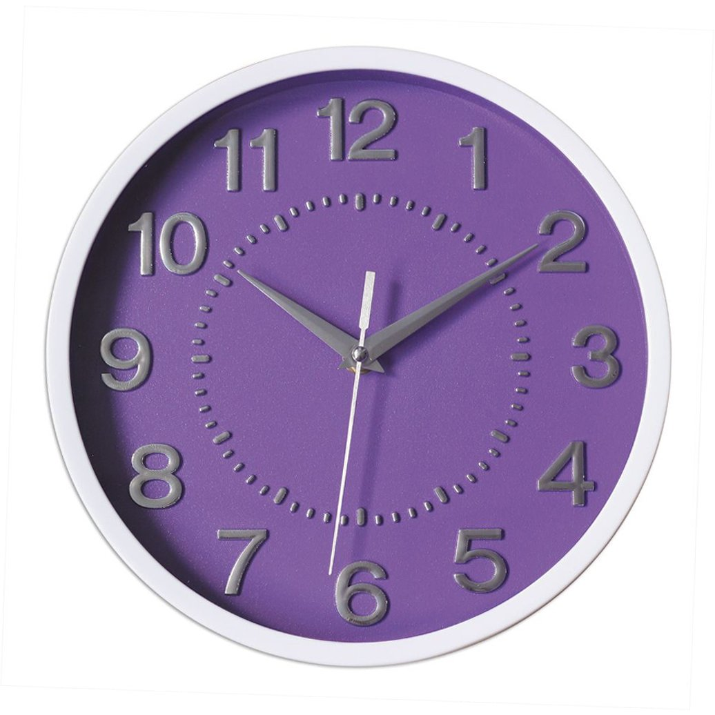 Decor Silent Wall Clock 10'' Purple Dial 3D Numbers Non-ticking Decorative Wall Clock Battery Operated Round Easy to Read For School/Home/Office/Hotel