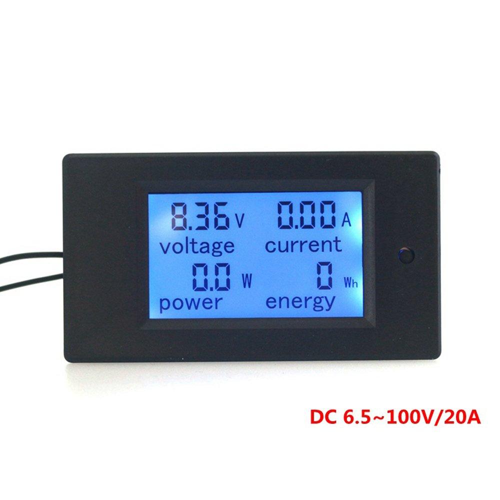 KETOTEK DC Voltmeter 6.5-100V 0-20A LCD Display Digital Current Voltage Power Energy Meter Multimeter Ammeter Voltmeter