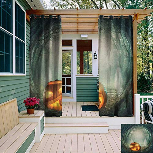 leinuoyi Halloween, Outdoor Curtain Extra Long, Drawing of Scary Halloween Pumpkin Enchanted Forest Mystic Twilight Party Art, for Patio Waterproof W120 x L108 Inch Orange Teal ()