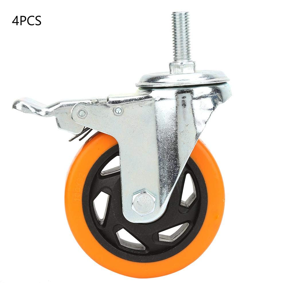 FTVOGUE 4pcs 4 inch Orange Universal Swivel Bearing Caster Wheels for Trolley Hospital Bed Furniture Table with Brake