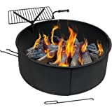 Sunnydaze Large Fire Pit Campfire Ring with BBQ Cooking Grate, Outdoor Camping Firepit Insert, Heavy Duty 2mm Thick Steel, 36 Inch