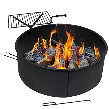 Camping Fire Pit >> Sunnydaze Wood Burning Fire Pit Campfire Ring With Cooking Grate And Fire Poker 36 Inch Outdoor Camping Firepit Heavy Duty 2mm Thick Steel Bbq