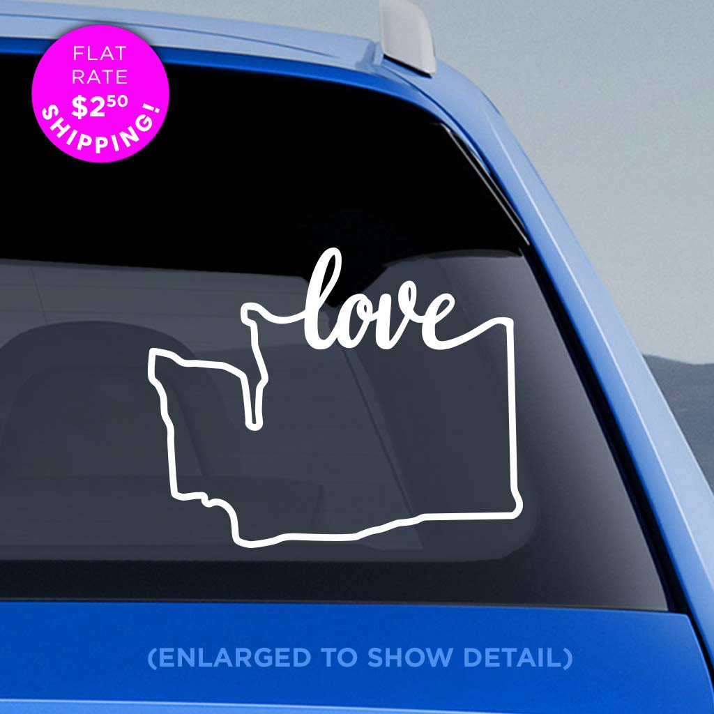 Washington StateLove Decal - WA Love Car Vinyl Sticker - Add a heart over Seattle, Olympia, Tacoma or Yakima - Made with outdoor vinyl