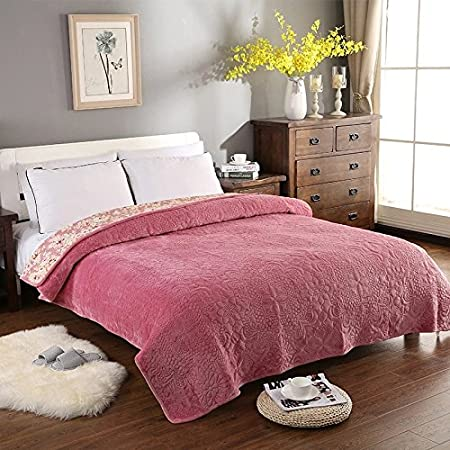 Unimall Luxury Warm Soft Thick Flannel Blankets Throws Cotton Quilted Throws  for Settees Single Size Bedspread 5a28967a6