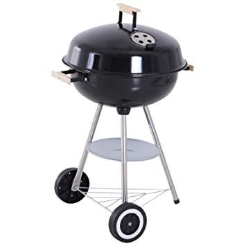 Outsunny Barbacoa de Carbón Vegetal con Ruedas Parilla de Carbón BBQ Portátil Tapa y Tazón Esmaltados Mangos de Madera 48x56x85cm para Jardín ...