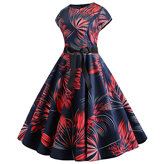 6f91147713d24 Sagton Rockabilly Dresses for Women O Neck Short Sleeve Flower Pleated  DressBy at Amazon Women's Clothing store: