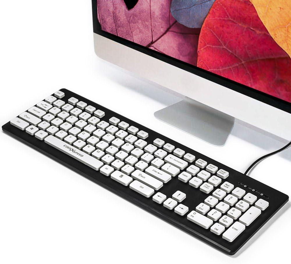 hi-azul ergonomía Ultra Slim con Cable Teclado Chocolate Silencioso Teclado con Teclas Flotante Impermeable para Oficina y Uso doméstico