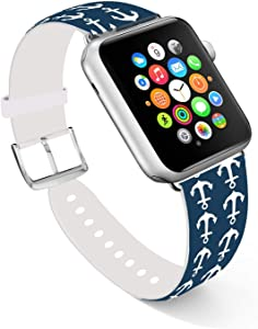 Ecute Compatible with Apple Watch Band 44mm 42mm, Soft Leather Band Strap Compatible with iWatch Series 6/5/4/3/2/1 44mm 42mm - White Baby Anchors