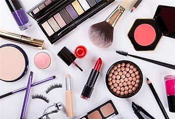 LFEEY 10x8ft Portrait Studio Backdrop Makeup Cosmetics Palette Nail Polish Eyeshadow Brush Lipstick Foundation Powder Beauty