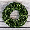 Boxwood Wreath, Artificial Wreath for the Front Door by Pure Garden, Home Décor, UV Resistant – 16.5 Inches