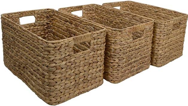 Juego de 3 cestas de mimbre grandes para almacenaje. Ideales para regalo: Amazon.es: Bricolaje y herramientas