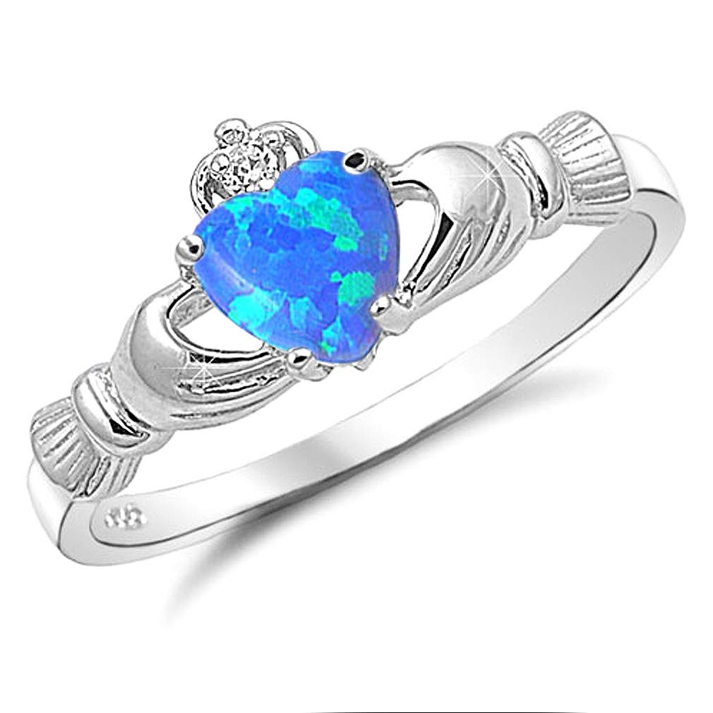 Sterling Silver Claddagh Ring with Simulated Blue Lab Opal Irish Wedding Rings Kriskate /& Co