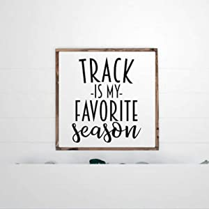 DONL9BAUER Framed Wooden Sign Track is My Favorite Season Wall Hanging Track and Field Sports Farmhouse Home Decor Wall Art for Living Room